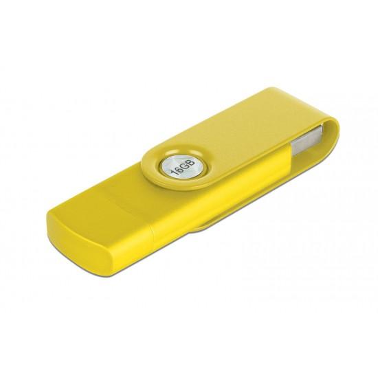 16 GB Renkli Döner Başlıklı OTG USB Flash Bellek