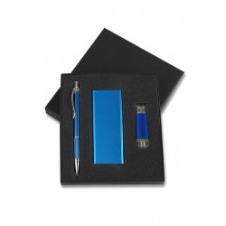 3000 mah Powerbank 16 GB OTG Kalem Promosyon Mavi Set