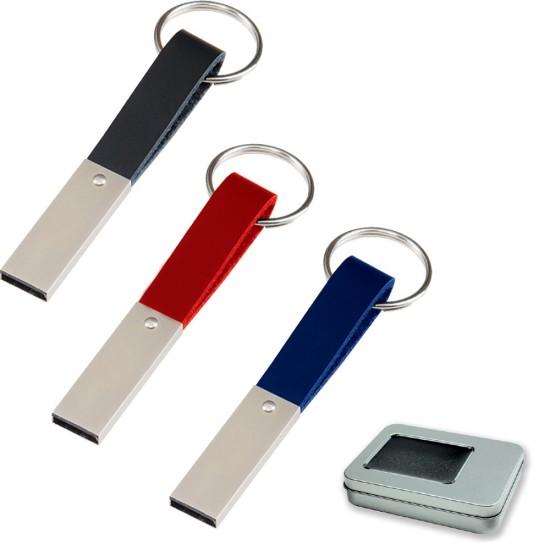 Suni Deri Tutacaklı Promosyon Metal USB Flash Bellek